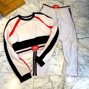 P.E. Nation crop top zip pants white Size Small